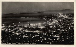 View of City from Table Mountain at Night Postcard
