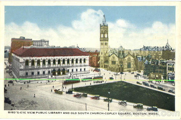 Bird's Eye View Public Library And Old South Church Copley Square Boston Massachusetts