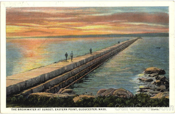 The Breakwater At Sunset, Eastern Point Gloucester Massachusetts