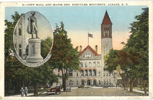 City Hall And Major Gen. Schuyler Monument Albany New York