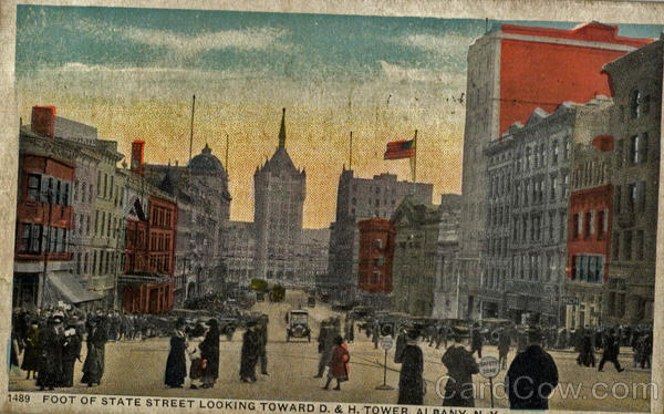 Foot Of State Street Looking Toward D. & H. Tower Albany New York