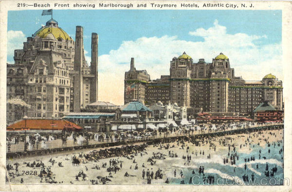 Beach Front Showing Marlborough And Traymore Hotels Atlantic City New Jersey