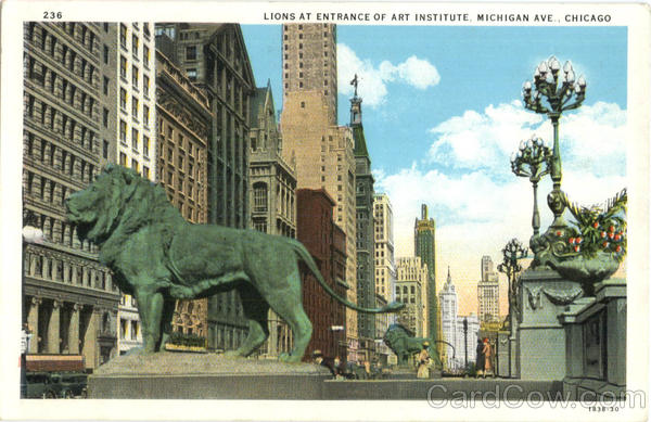 Lions At Entrance Of Art Institute, Michigan Ave Chicago Illinois