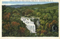 View Of Falls From State Highway, State Park Postcard