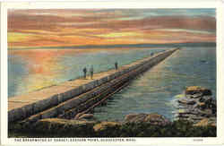The Breakwater At Sunset, Eastern Point