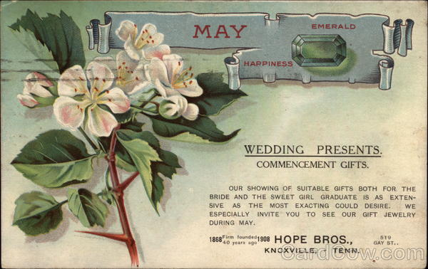 May, Emerald, Happiness, Wedding Presents, Commencement Gifts, Hope Bros Knoxville Tennessee