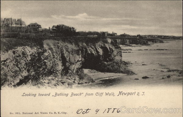 Looking toward Bathing Beach from Cliff Walk Newport Rhode Island