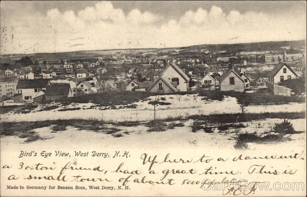 Bird's Eye View of Town West Derry New Hampshire