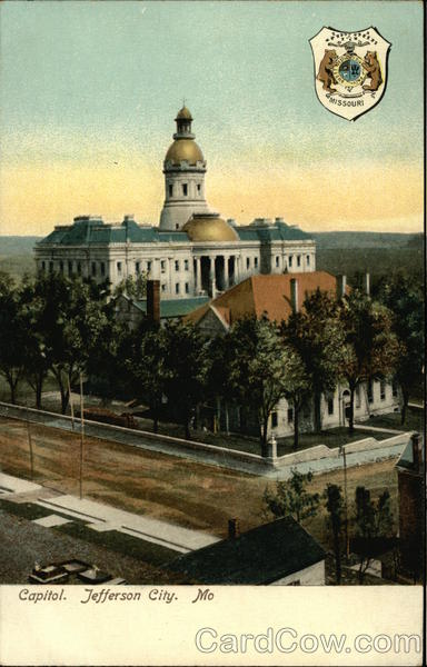 View of Capitol and State Emblem Jefferson City Missouri