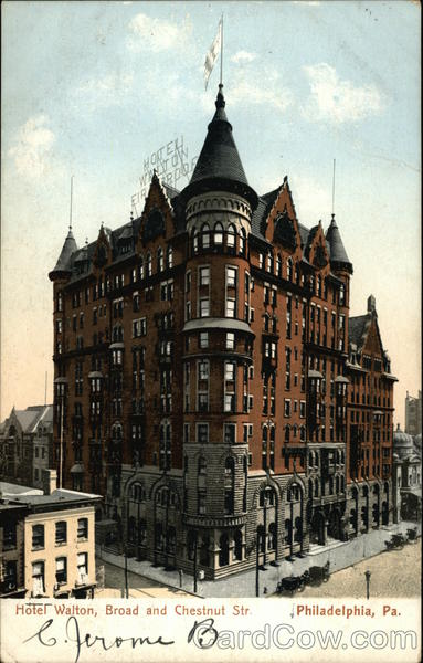 Hotel Walton at Broad and Chestnut Streets Philadelphia Pennsylvania