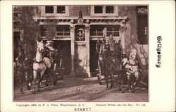 Two Horse Drawn Fire Trucks Leaving Fire House