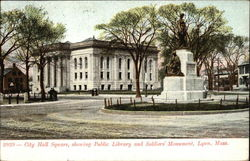 City Hall Square, showing Public Library & Soldiers' Monument