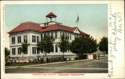 Street View of Central High School Postcard