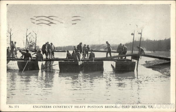 Engineers construct heavy pontoon bridge Fort Belvoir Virginia