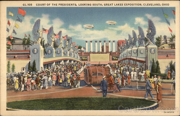 Court of the Presidents, Looking South, Great Lakes Exposition Cleveland Ohio