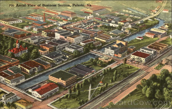Aerial View of Business Section Pulaski Virginia