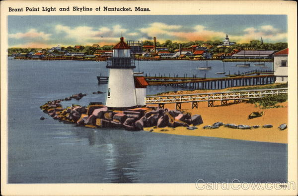 Brant Point Light and Skyline of Town Nantucket Massachusetts