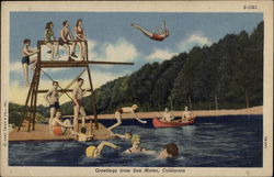 Greetings - Swimmers & Canoe on the Lake