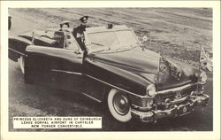 Princess Elizabeth and Duke of Edinburgh Leave Dorval Airport in Chrysler New Yorker Convertible