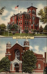 Catholic Church and Academy Postcard