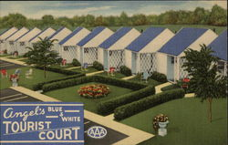 Angels Blue and White Tourist Court Postcard