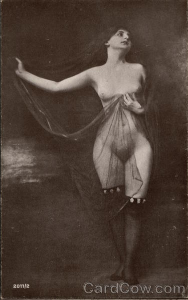 Nude Woman with Sheer Veil Risque & Nude