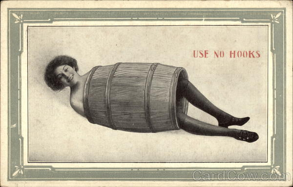 Woman in Barrel Risque & Nude