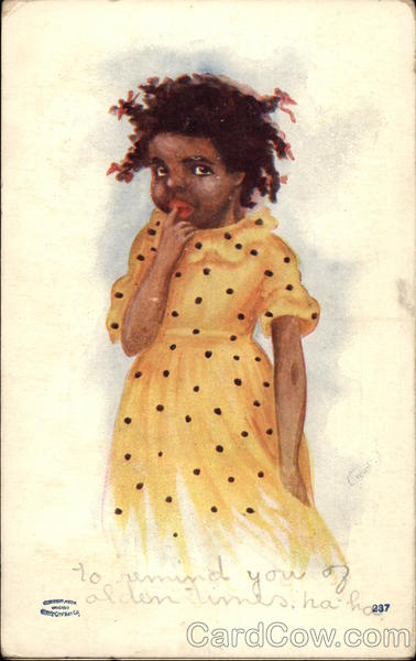Little Black Girl in Yellow Polka Dot Dress Black Americana