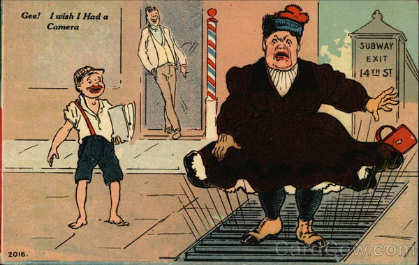 Large Woman on Subway Grate Comic, Funny