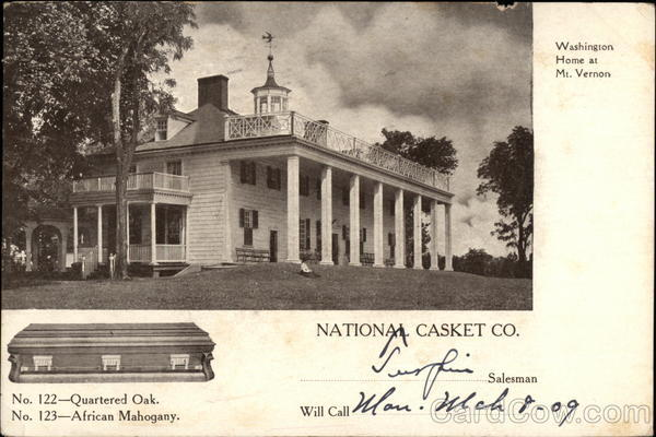 Washington Home at Mt. Vernon, National Casket Co. ------ Salesman Will Call ------