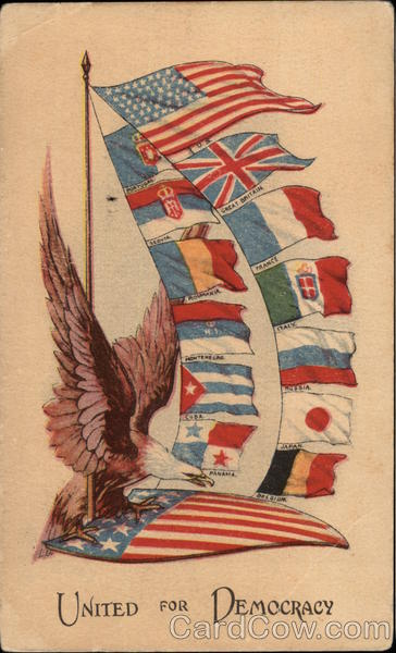 United for Democracy - Eagle with American Flag & Flags of 12 Other Countries
