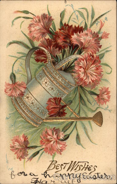 Best Wishes - Flowers, Watering Can Greetings