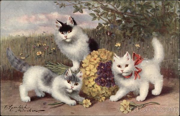 Three Kittens Playing with Flowers Cats
