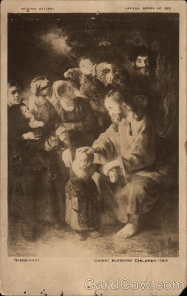 Christ Blessing Children by Rembrandt Art