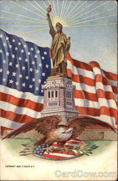 Eagle, American Flag and the Statue of Liberty Patriotic