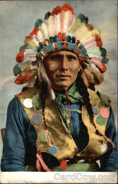 Native American Man in Feathered Headdress Native Americana