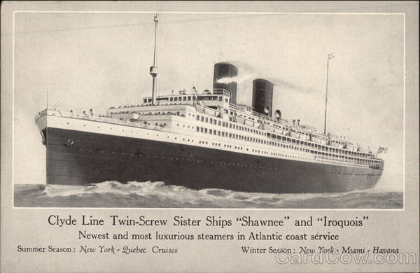 Clyde Line Twin-Screw Sister Ships Shawnee and Iroquois