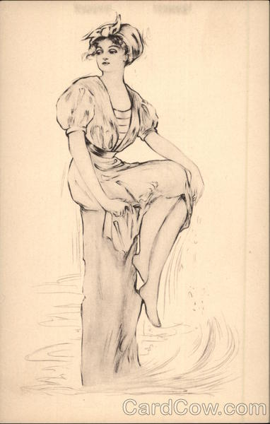 Pen and Ink of Woman Sitting on Pier Women