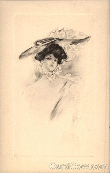 Black & White Sketch of Beautiful Woman in Large Hat