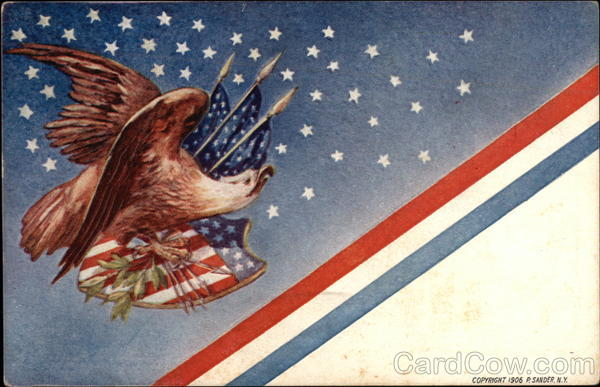 Eagle with American Flags and Emblem Patriotic