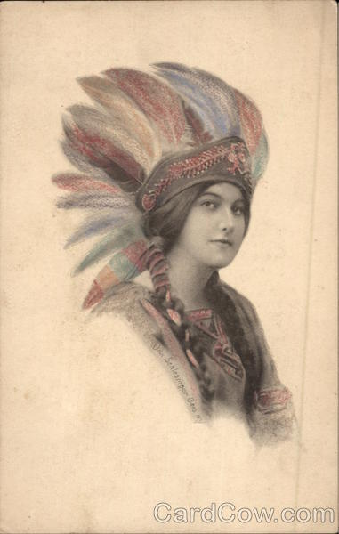 Indian Maiden Wearing Colorful Headdress Native Americana