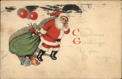 Christmas Greetings to You with Santa & Toys Postcard