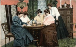 5 Women Around Table Postcard