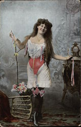 Victorian Woman with Long Brown Hair wearing Undergarments