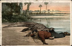 Crocodile with Little Black Boy in its Mouth