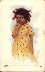 Little Black Girl in Yellow Polka Dot Dress