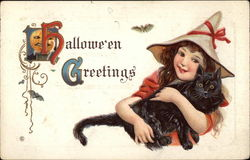 Halloween Greetings - Girl Witch with Cat
