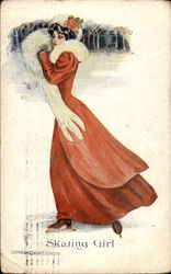 """Skating Girl"" - Brunette in Long Red Dress & Fur Muff Postcard"