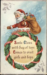 Santa Claus with Bags of Toys Comes to Visit Girls and Boys