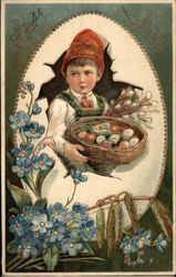 A Joyful Easter with Young Boy & Basket of Eggs